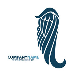 company name logo emblem with blue angel wing on vector image vector image