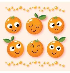 happy cartoon oranges vector image vector image
