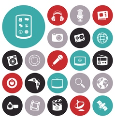 icons for technology entertainment vector image vector image