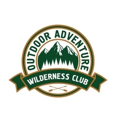 Outdoor adventure badge with mountain landscape vector image vector image