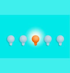 outstanding unique orange light bulb glowing vector image vector image