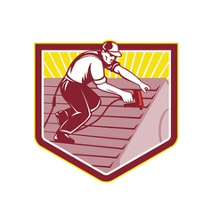 Roofer Roofing Worker Retro vector image