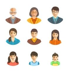 Asian family happy faces flat avatars set vector image