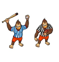 Cartoon gorilla playing baseball and rugby vector image