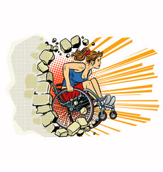 caucasian woman athlete in a wheelchair punches vector image vector image