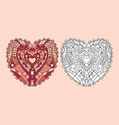 coloring page heart ornament vector image vector image
