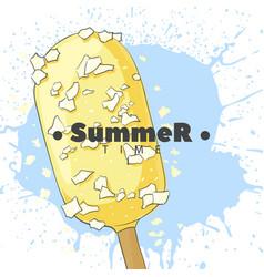 ice cream in white glaze on a stick vector image vector image