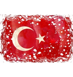 old grunge flag of turkey vector image
