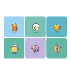 set of flat fast food icons cute cartoon vector image vector image