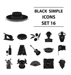 spain country set icons in black style big vector image vector image
