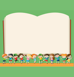background template with kids holding big book vector image