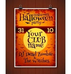Bright orange Halloween costume party poster vector image