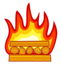 burning wood icon vector image vector image