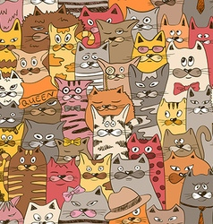 Colorful Seamless Pattern With Funny Cats vector image