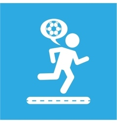 man silhouette running with ball soccer icon vector image vector image