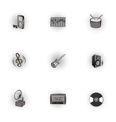 Musical device icons set pop-art style vector image