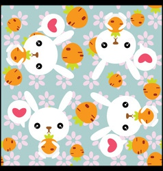 Seamless background with cute rabbits vector image vector image