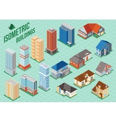 Set of 3d isometric private houses and tall vector image vector image