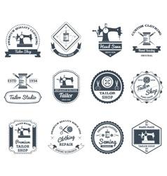 Tailor shop black labels icons set vector image vector image
