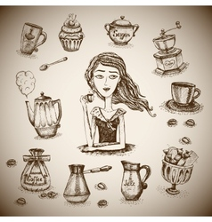 The love of coffee scene vector image