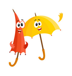 two smiling funny umbrella characters open and vector image