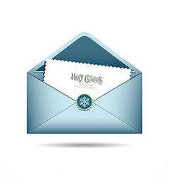 Blue Envelope letter Merry Christmas white card vector image