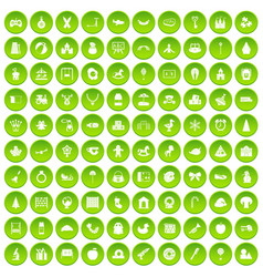 100 nursery school icons set green circle vector