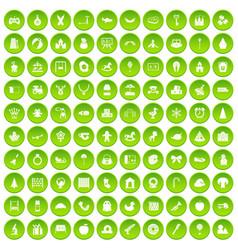 100 nursery school icons set green circle vector image
