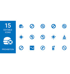 15 prohibition icons vector