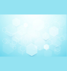 abstract blue hexagons shape and lines with vector image