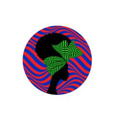 African logo round design portrait woman vector