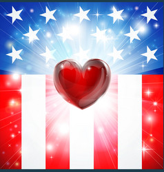 american heart patriotic background vector image