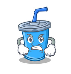 Angry soda drink character cartoon vector