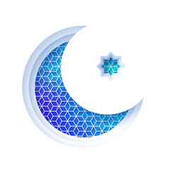 Arabic blue crescent moon window arch in paper cut vector