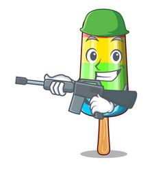 Army colorful ice cream sticks on cartoon vector