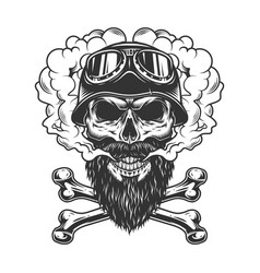 Bearded and mustached biker skull vector