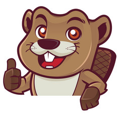 Beaver behind sign vector
