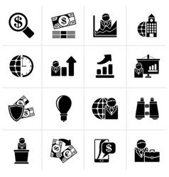 Black business and finance strategies icons vector