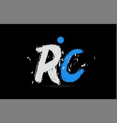 blue white alphabet letter combination rc r c vector image