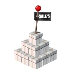 Box shopping for sale icon cartoon style vector