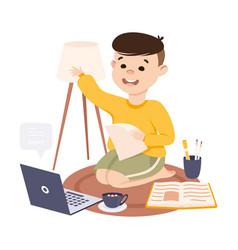 Boy having online lesson homeschooling distance vector