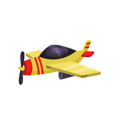Bright yellow plane with propeller cartoon air vector