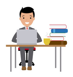 businessman sitting at his desk with a laptop vector image