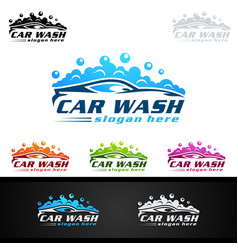 Car wash logo with car silhouette and water vector