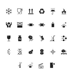 cartoon silhouette black packaging symbols icons vector image