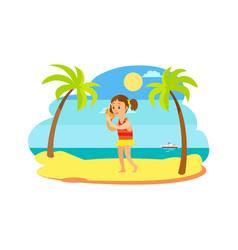 Child hearing seashell on beach sea view vector