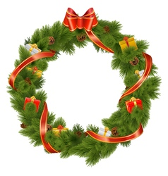 Christmas wreath with gifts vector