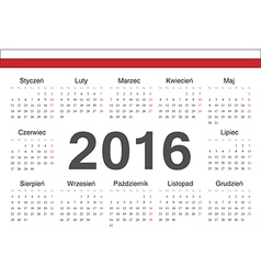 Circle Polish 2016 year calendar vector
