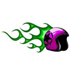 classic helmet motorcyclist with fire vector image