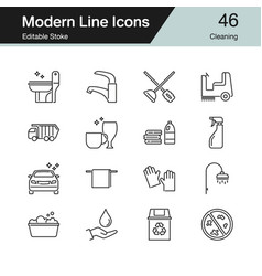 Cleaning icons modern line design set 46 for vector